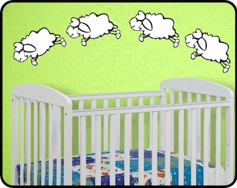 """Counting Sheep Wall Decal Sticker - Counting Sheep nursery wall decal vinyl decor 60"""" x 18"""""""