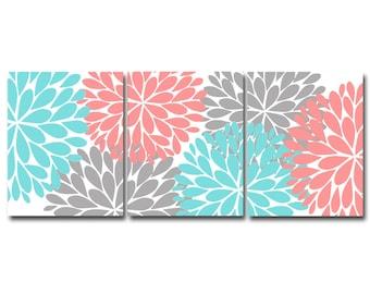 Flower Burst Printable Art Set, INSTANT DOWNLOAD, Modern Home Decor, Teal, Coral & Gray Bedroom Wall Art, Nursery Art, Gallery Wall Set of 3