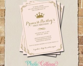 Royal Birthday Invitation, Princess Birthday Party, Royal Ball Invitations, Birthday Party Invitations, Pink & Gold Invitations, BP104