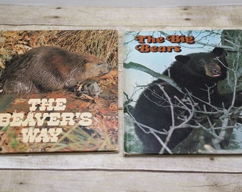 Ranger Rick's Best Friends Set of two, 1973, Big Bears and Beavers Way, vintage kids book, book set