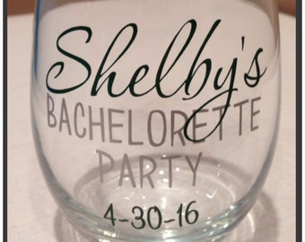 FAST SHIPPING-New-Personalized Bachelorette Party Stemless Wine Glasses