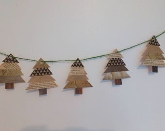 Garland of 7 Christmas trees #handmade recycled