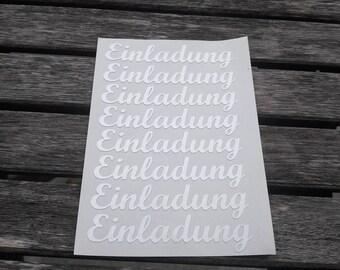 "8 Sticker/Sticker Lettering ""Invitation"" in cream-white shimmering"