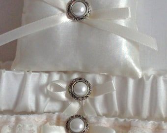 "Silver and Ivory Ring Bearer Pillow, small simple bridal pillow, silver button ivory ribbon -- approx. 3"" square"