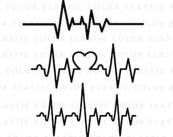 Heartbeat svg -  ekg svg - heartbeat line clipart - cardiogram svg file cut file for silhouette cameo and cricut  svg, png, dxf, eps