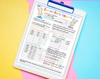 Daily Infant Report - In-Home Preschool, Daycare, Nanny Log - Printable and Fillable PDFs