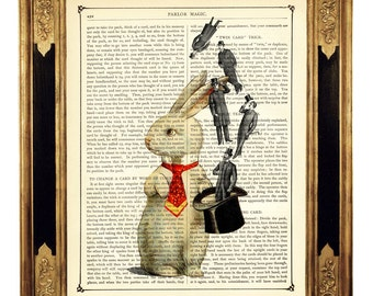 Rabbit Magician Top Hat Gentlemen Easter Bunny - Vintage Victorian Book Page Art Print Steampunk