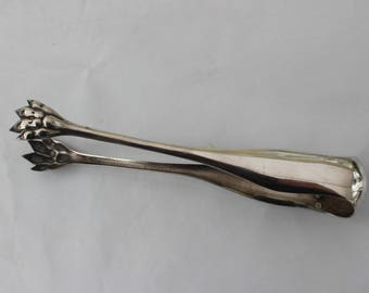 Sugar tongs French vintage silver plated 1930s claw foot elegant French decor