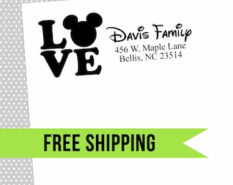 Custom Return Address Stamp-Self Inking-Personalized Stamp-Disney-Mickey and Minnie-Wedding-Mickey Mouse-Rubber Stamp
