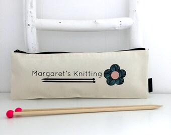 Personalised Knitting Needle Bag | Flower Print Knitting Bag | Personalised Knitting Gift | Gift For Knitters