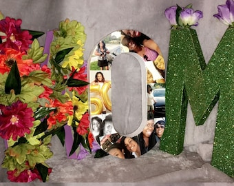 MOM photo collage w/ flowers