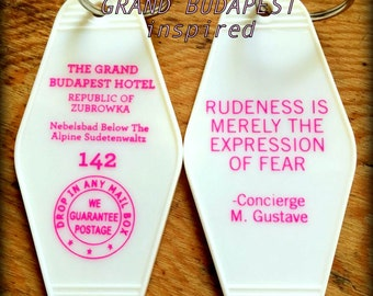 White with pink GRAND BUDAPEST Hotel Inspired Keytag