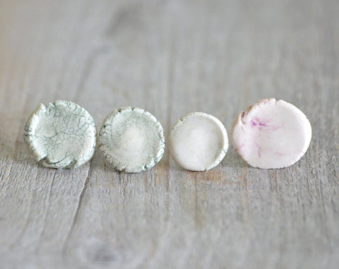 Unique Porcelain Stud Earrings In Ivory, Green And Purple, All One Of A Kind, Handmade In The UK