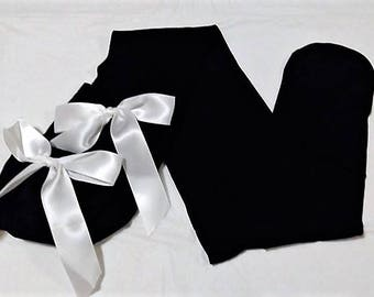 Black Opaque Thigh High Stockings With White Bows (A)