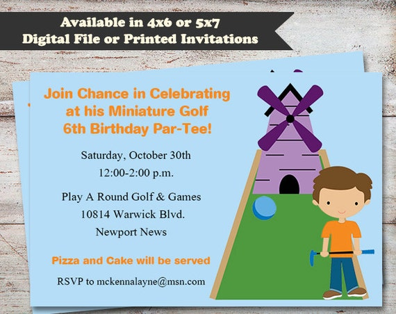 Miniature Golf Birthday Invitations Miniature Golfing