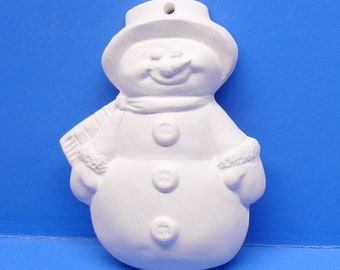 Snowman With Carrot Nose Ornament/DIY/Ready To Paint/Plaster/WhiteWare/ChalkWare/PlasterCraft #500
