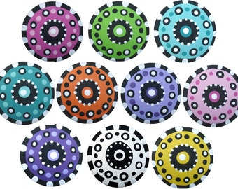 Multi Color Hand Painted Knobs Polka Dot Knobs Black White Check Knobs Kids Knobs Dresser Knobs Nursery Knobs Decorative Drawer Knobs Pulls