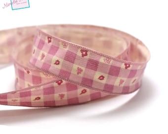 "3 m pink ""flower tiles"" 26 mm linen Ribbon"