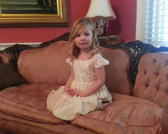 Flower Girl Dress, Venice Lace Flower Girl Dress, Flower Girl Dresses, Knee Girls Dresses, Lace Top Flower Girl Dress, Handmade in the USA