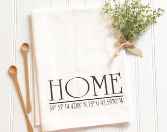 housewarming gift, coordinates tea towel, longitude and latitude tea towel, newlywed gift, personalized gift, home tea towel, hostess gift