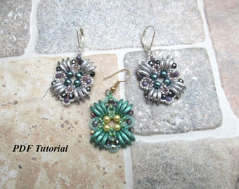 "Earrings Pattern, DIY Earrings, Beaded Earrings, Beading Tutorial, Earring Beading, Bead Pattern, Beadweaving Earrings, ""Zeta"" Earrings"