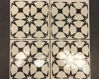 "Black / White Glazed Ceramic Tile 4.25"" - Individually printed & glazed"