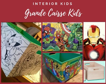 Great Kids Fund 36x26x19 (order) -Storage box on wheels, baby room, children, teen-Themes & Colors to Choice-Homedeco Handmade
