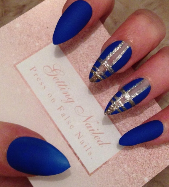 Royal blue nails matte blue nails blue false nails false