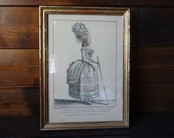 Vintage French Print Dressed French Lady in Paris wallhanging circa 1970-80's / English Shop