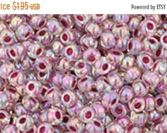 ON SALE 11/0 Rainbow Crystal Strawberry Lined Toho Glass Seed Beads 2.5 inch tube 8 grams TR-11-771
