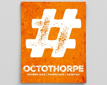 Octothorpe Hashtag Sign Pound Sign Number Sign Typographic Print Poster Grammar Police Gifts for Teachers Gifts English Teacher Gifts Words