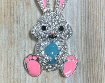 Easter Bunny, Rhinestone Pendant, 50mm, Blue Egg, Spring, Easter Rhinestone Pendant, Bunny, Easter Egg, Chunky Necklace Beads