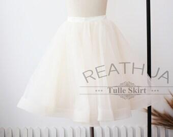 Champagne Horsehair Tulle Skirt/Short Women Tulle Skirt/TUTU Tulle Skirt/Wedding Bridal Bridesmaid Skirt/Wedding Dress Underskirt Petticoat