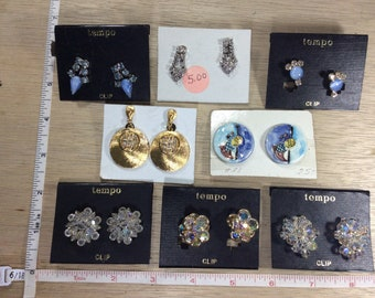 Vintage Lot Of 8 Pair Silver Gold Toned Earrings Screw Backs And Clip Ons Used
