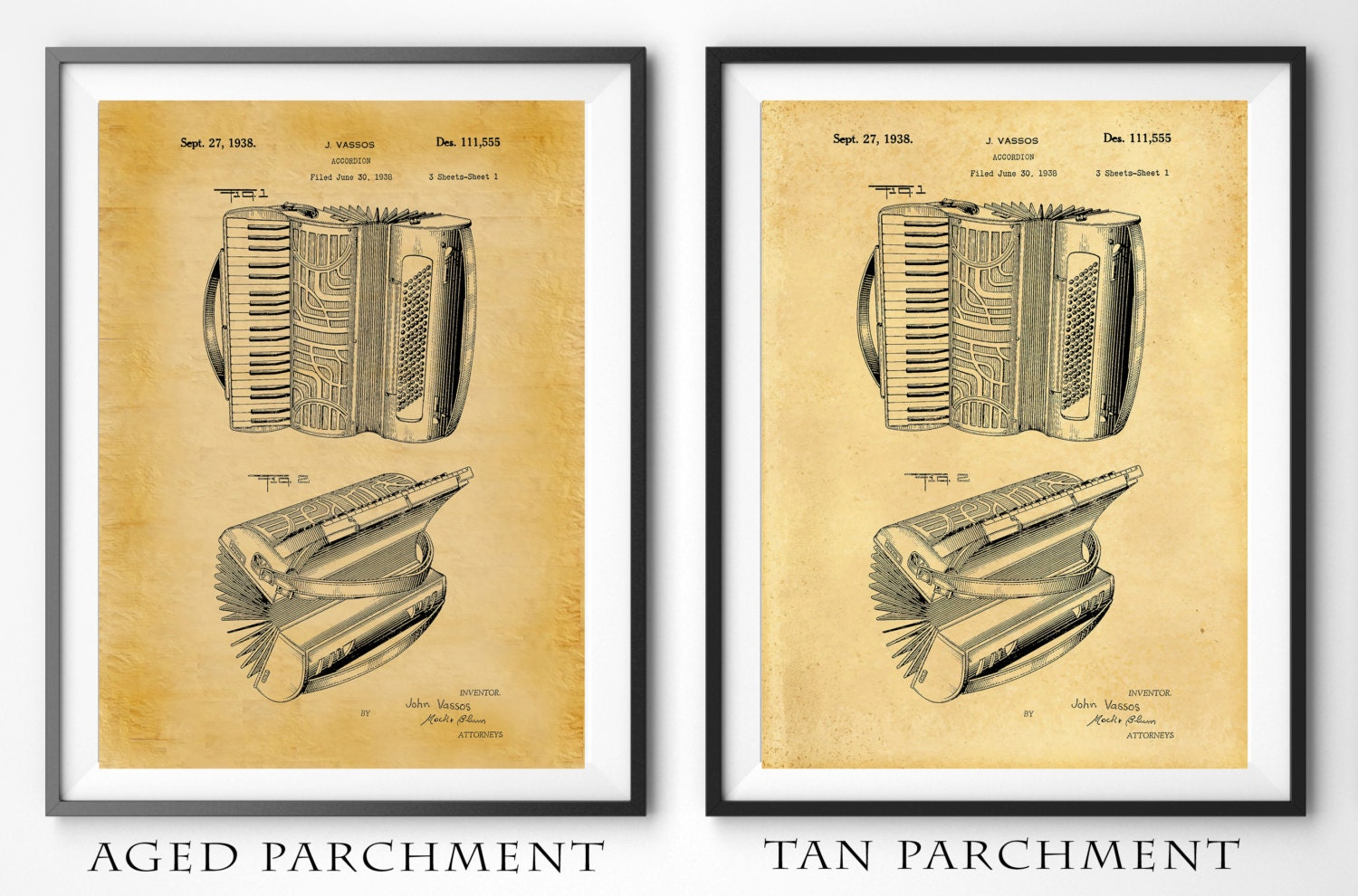 Patent 1938 Accordion Designed for Hohner - Art Print - Poster ...