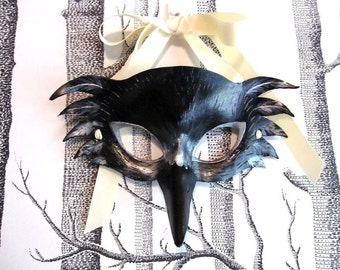 Raven Leather Mask, Child Size - Made to Order ECO-FRIENDLY Holiday
