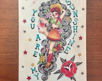 You are my sunshine, western country girl tattoo print