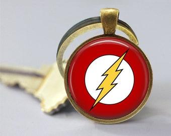 Flash Logo Symbol DC Glass Pendant, Photo Glass Necklace, Glass Keychain