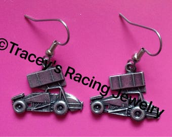 Winged sprint car earrings Traceys Racing Jewelry exclusive