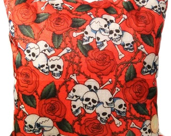 Red Rose Skull Decorative Throw Pillow