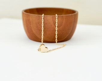 Gold Floating Heart Necklace, Sterling Silver Heart Necklace, Gift for Her, Wedding Jewelry, Flower Girl Necklace, Rose Gold Heart Necklace
