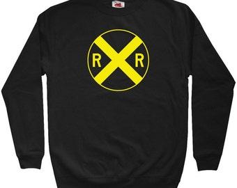 Railroad Crossing Sweatshirt - Men S M L XL 2x 3x - Crewneck Railroad Shirt - Railway, Train, Locomotive, Travel - 4 Colors