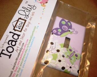 Daisy Lilac Butterfly Single Light Switch Cover Girls Bedroom Single Light Switch Cover LS0015