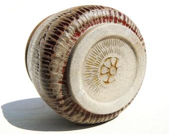 White stoneware carved woodfired kickweeled Yunomi teabowl