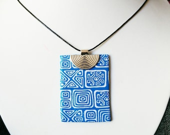 Square blue and white tribal polymer clay necklace