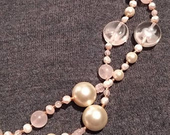 Long rose quartz and glass pearl necklace