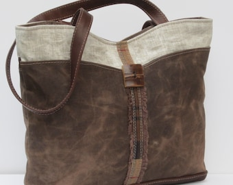 TOTE BAG Waxed Canvas Waxed Linen Waxed Flannel Medley by Elizabeth Z Mow