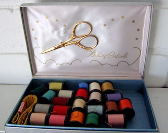 Belding Cortelli Luxury Sewing Kit with Golden Scissors, Tape Measure and Thimble, silver satin lined box, 1950's