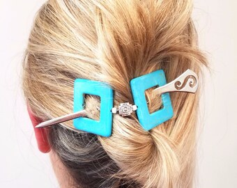 Statement Hair slide,Hair Slide with stick,Hair Stick, Geometric Hair clip,Turquoise Blue and silver,Adult hair accessories