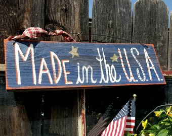 4th of July sign,made in the USA,flag decor,American flag,independence day,patriotic sign,flag sign,patriotic decor,patriotic rustic sign